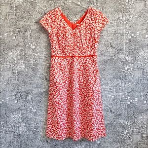 Boden Coral Floral Printed Cotton Midi Dress